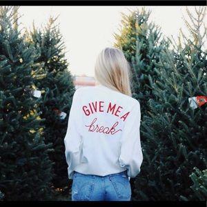 "Zara ""Give Me a Break"" White Zip Up Jacket"